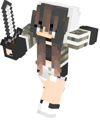 Minecraft girl skin png with slimmer arms. Nova cute cool camo