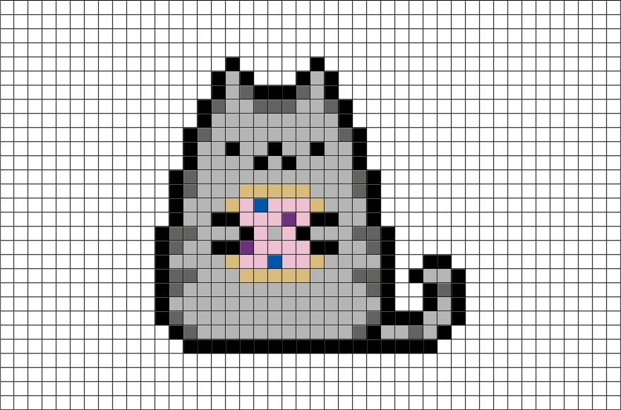 Minecraft llama pixel art png. Pusheen with donut grid