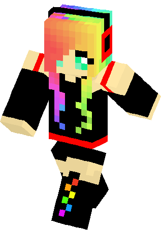 Minecraft skins png. Emo rainbow girl skin