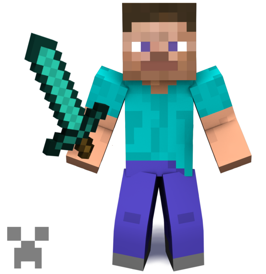 Minecraft steve png. Smashified by obsessor on