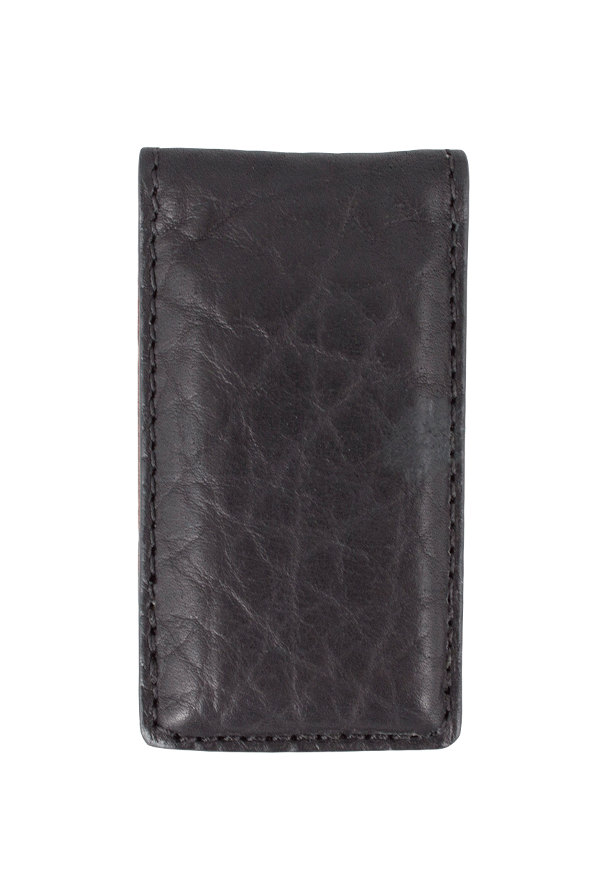 Miney clip leather. Bison magnetic money pinto