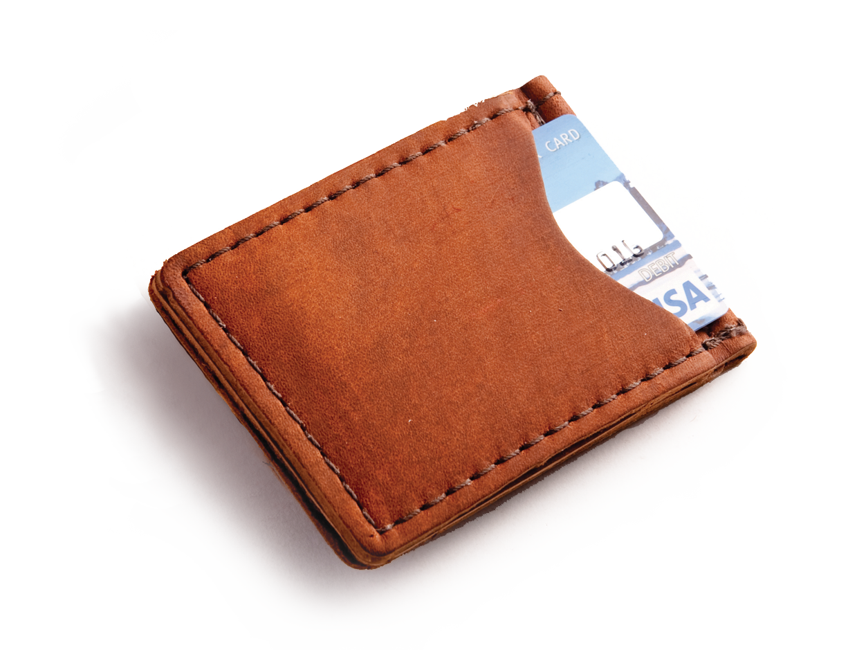 Miney clip leather. Rustic money in choice