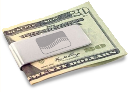 Miney clip paper. Brushed steel money product