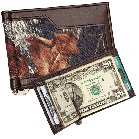 Miney clip cash. Wallets webers leather camo
