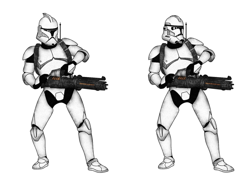 Shooting drawing clone trooper. Z rotary blaster cannon