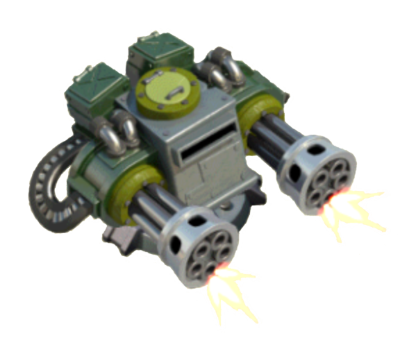 Minigun drawing robot. Machine gun boom beach