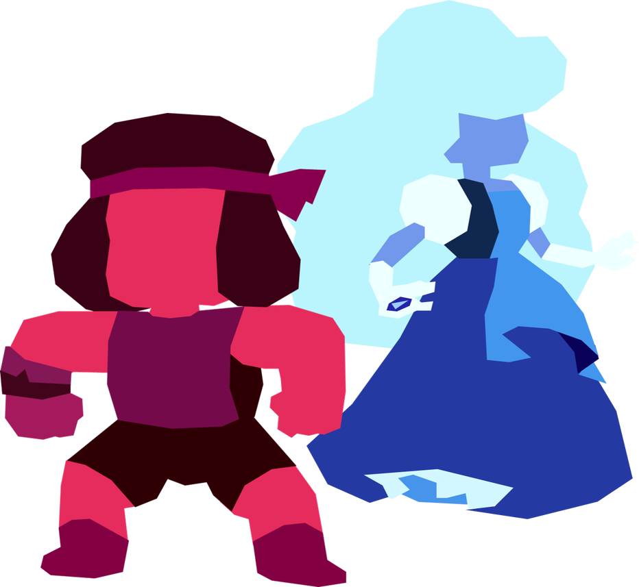 Minimalist transparent steven universe. Ruby and sapphire by