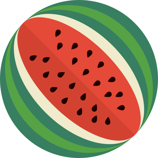 Minimalist transparent watermelon. Fruit icon