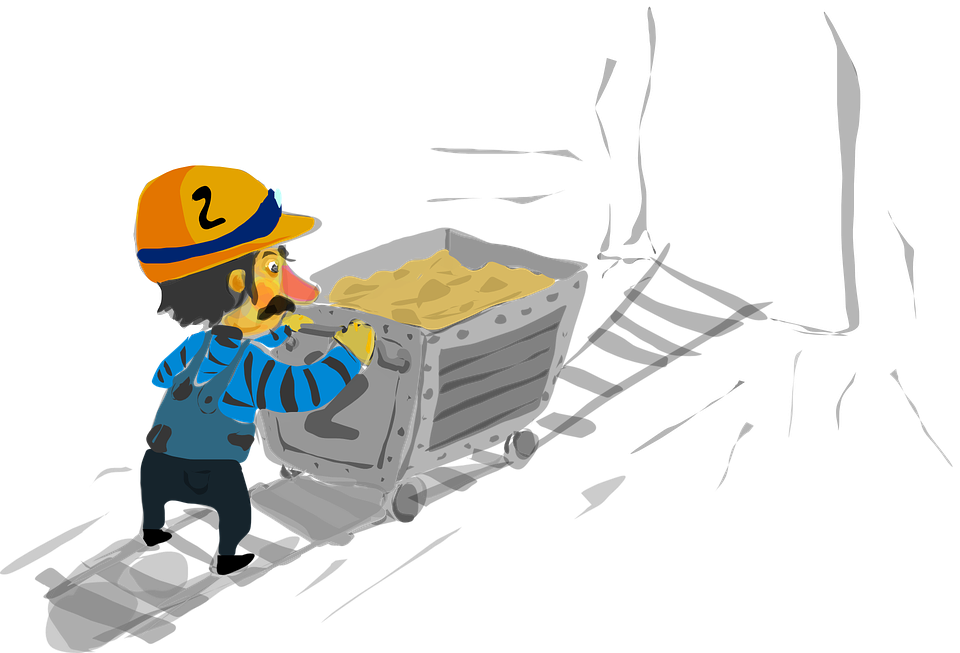 Mining drawing hard worker. Background steemit i just