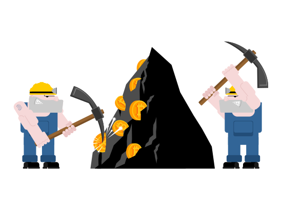 Mining drawing hard worker. Bitcoin pool concept icons