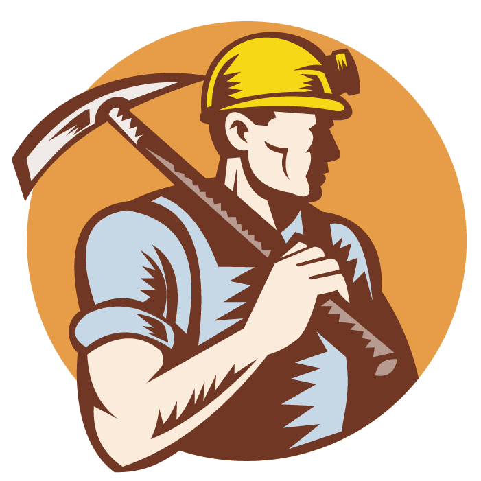 Working vector miner. Mining image black