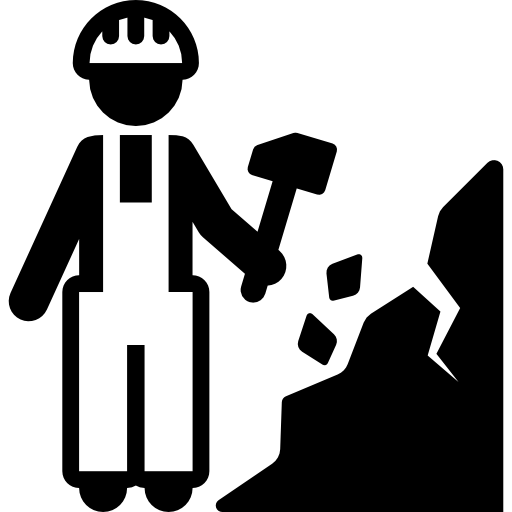 Mining vector quarry. Miner icons free download