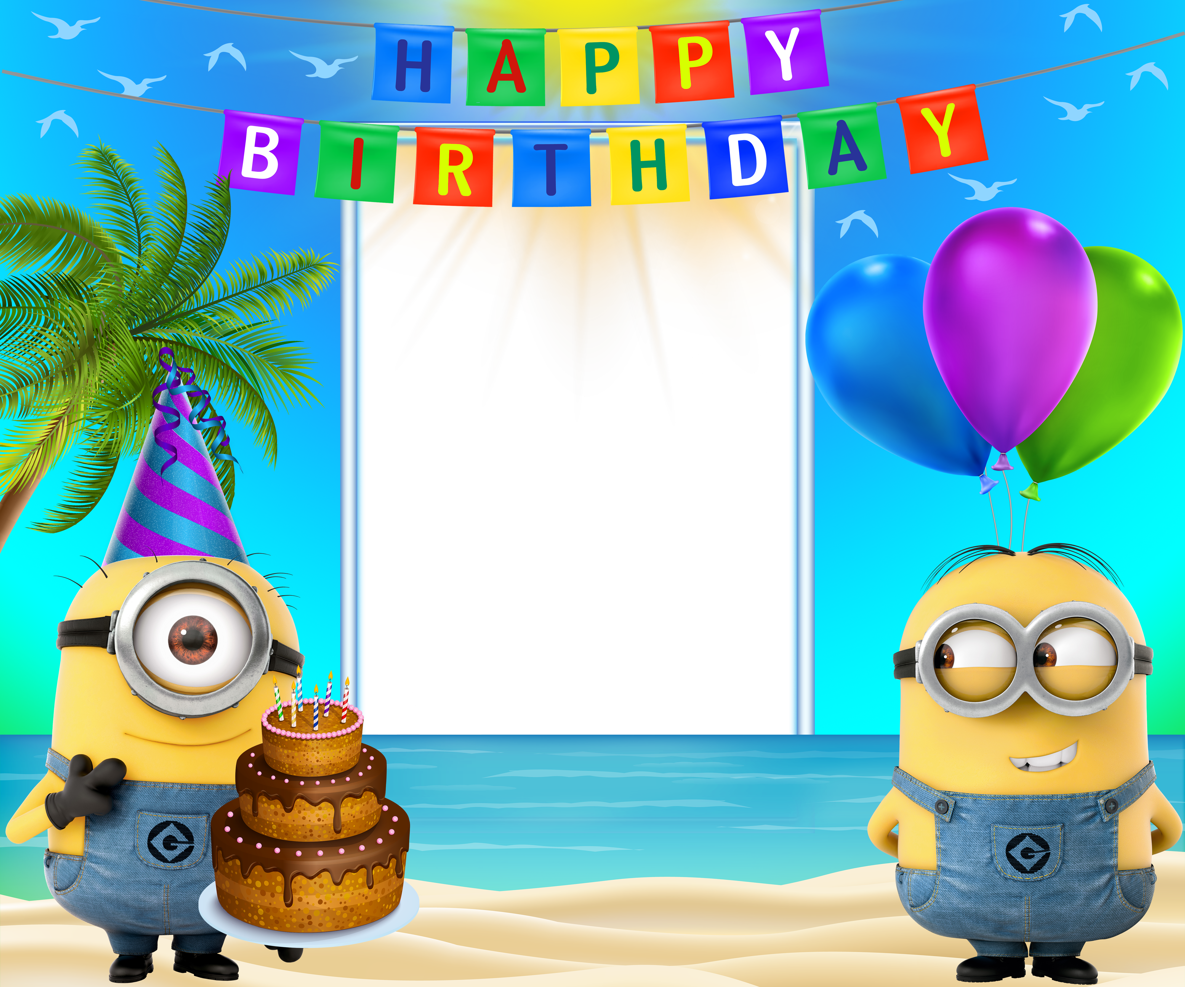 Minion birthday png. Happy transparent frame with