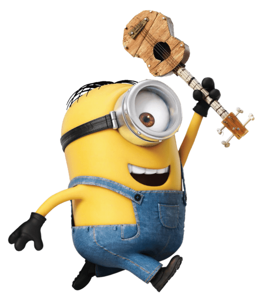 Minions clipart side. Minion with ukulele running