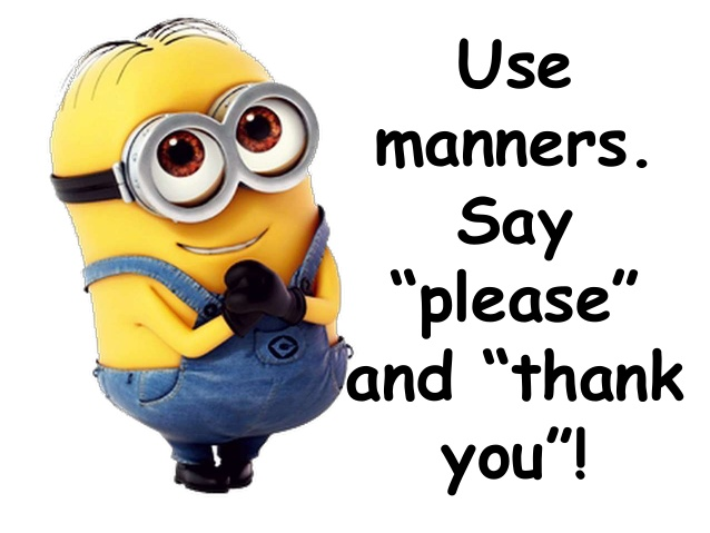 Minion clipart thank you. Minions classroomrulesposterseditable say please
