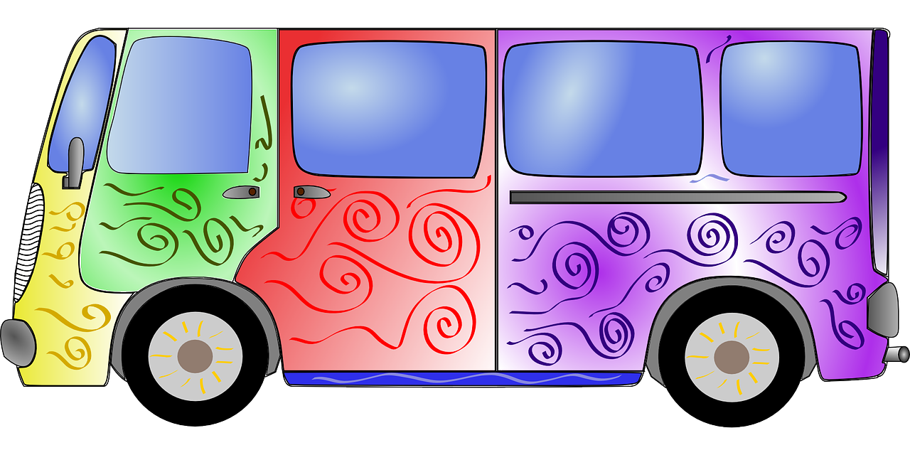 Building clipart bus. Colorful hippie minivan transparent