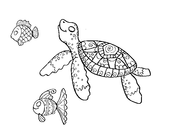 Mink drawing sea. Turtle with fish coloring