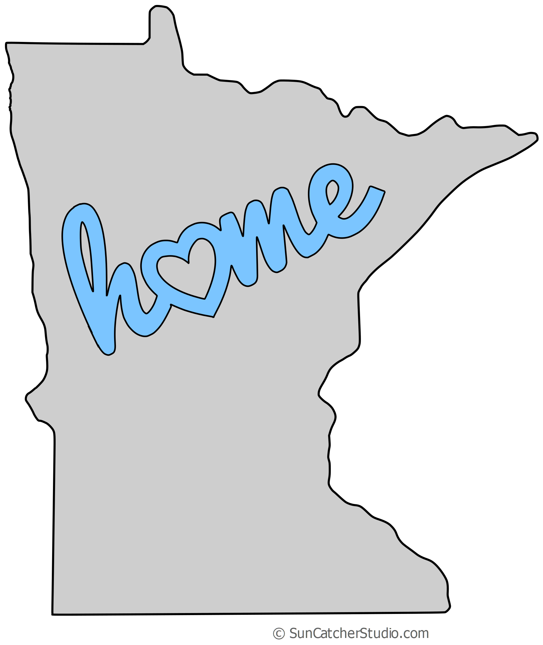Minnesota drawing stencil. Map outline printable state