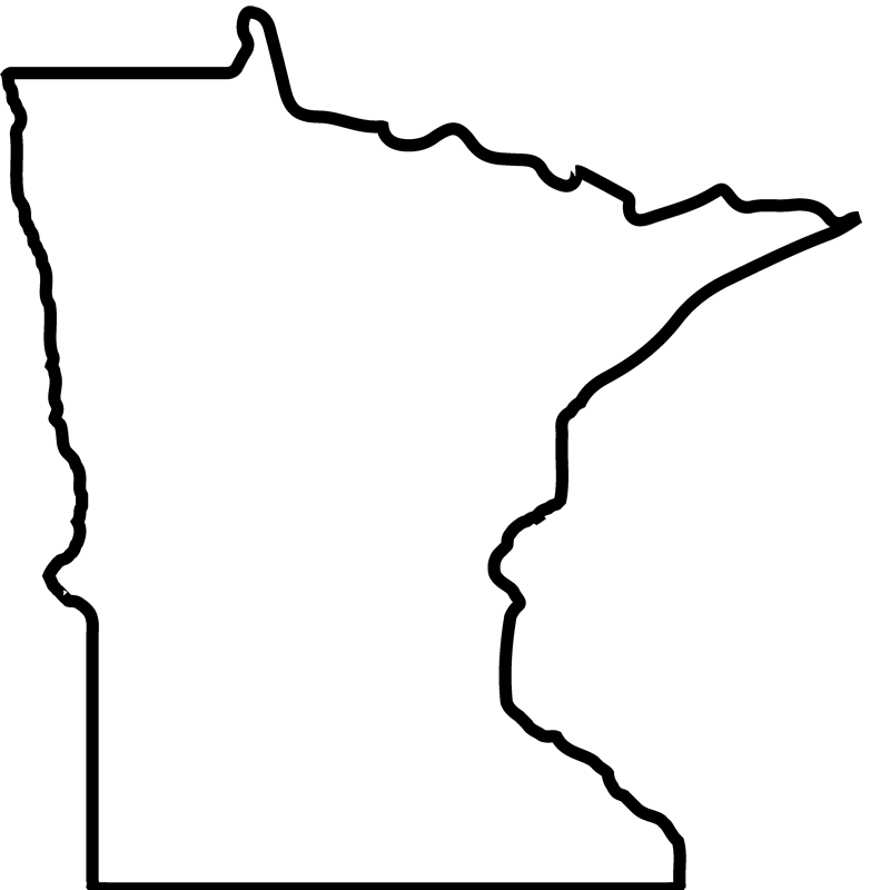 Minnesota drawing. Outline rubber stamp state