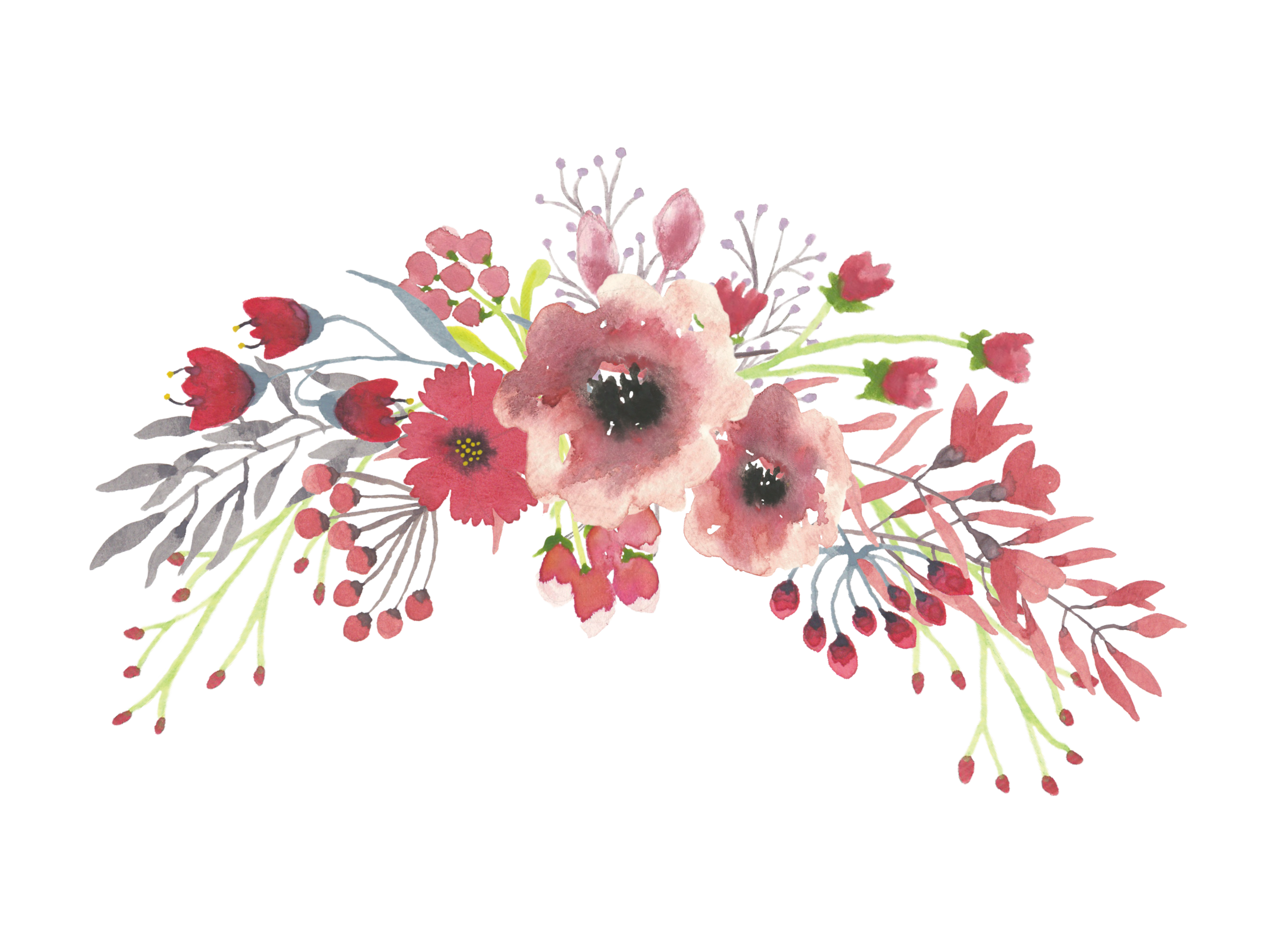 watercolor flowers elements ornaments png free