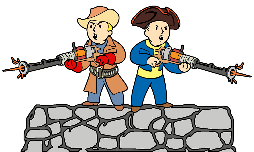 Minuteman drawing cartoon. Defend the castle fallout
