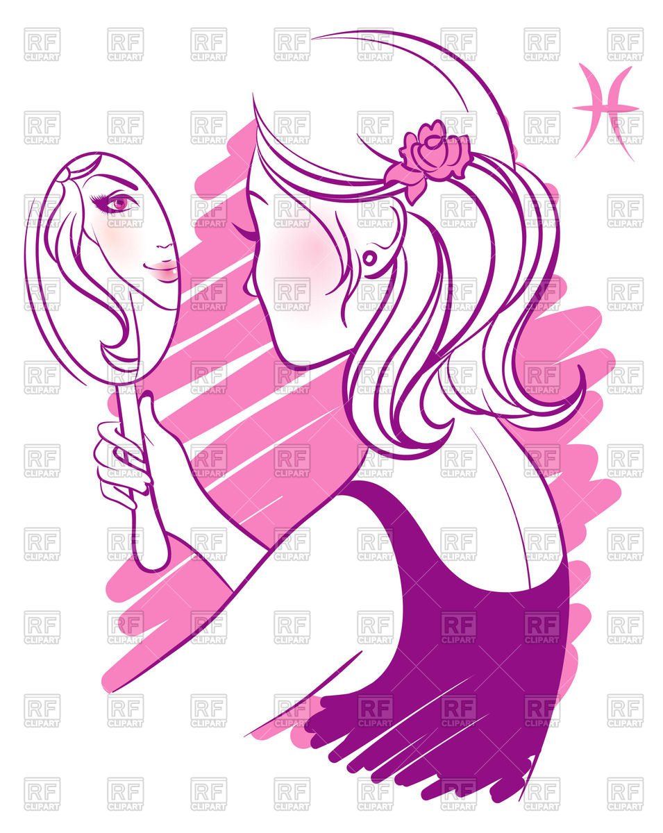 With pocket in hand. Woman clipart mirror clip art black and white stock