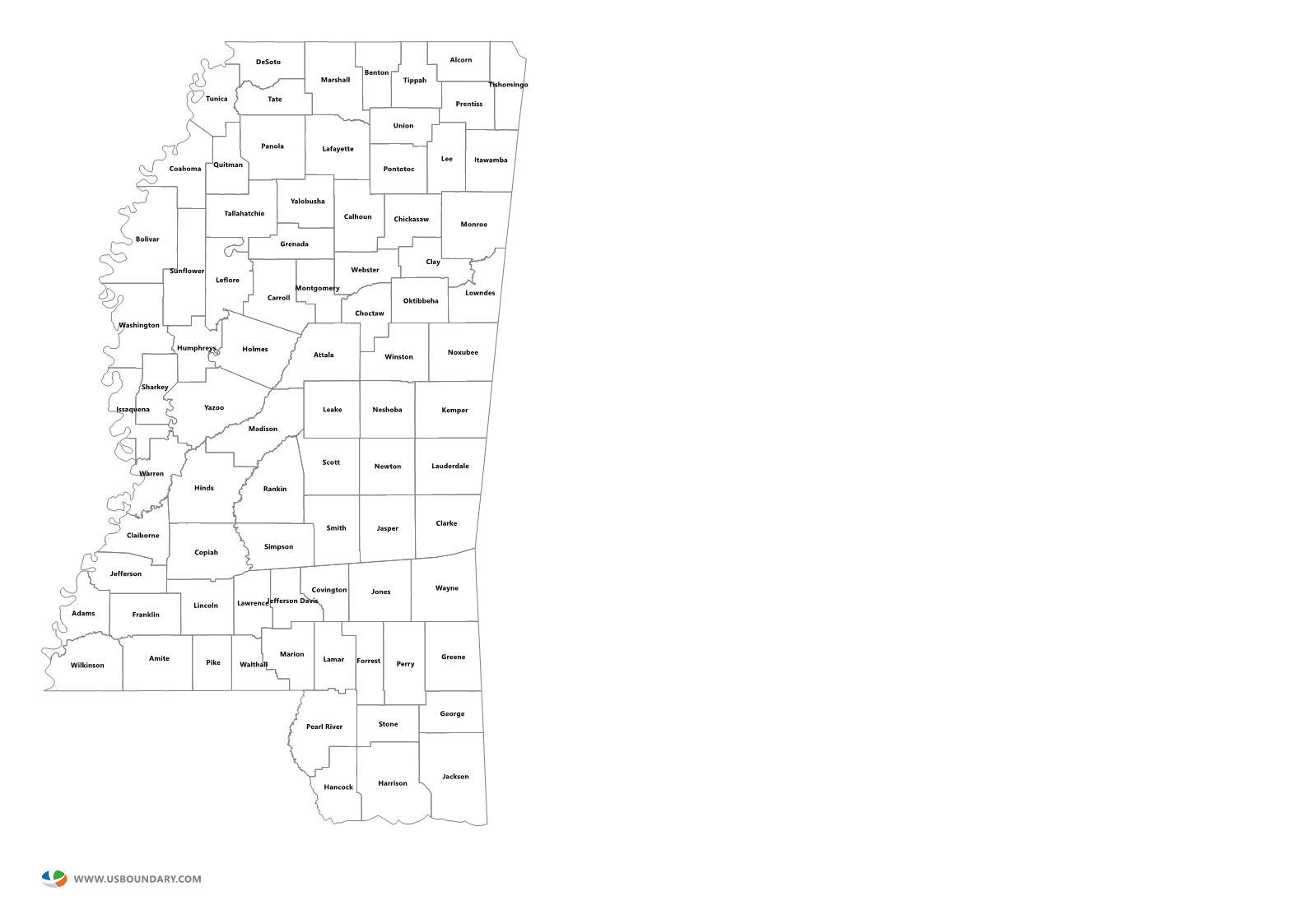 State counties maps download. Mississippi outline png banner black and white download