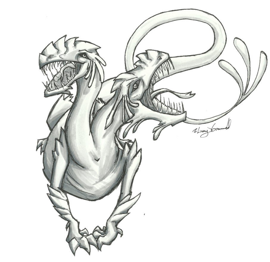 Mist drawing monster. Greyscale by aquabluejay on