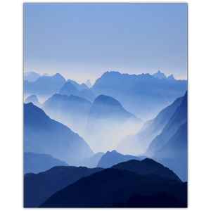 Mist drawing scenery. Mountain in x photo