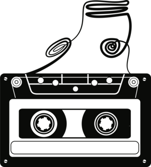 Compact deck sound drawing. Cassette clipart freeuse library