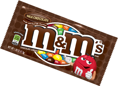 Transparent packaging chocolate. M s nutrition mms