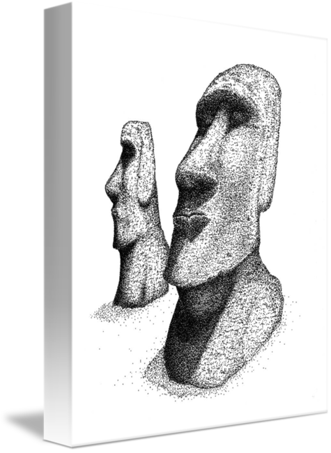 Moai drawing simple. By james christopher