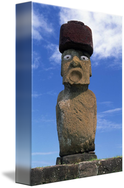 Moai drawing painting. Statue easter island chile