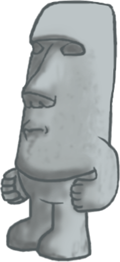 Moai drawing stone statue. Years golem by