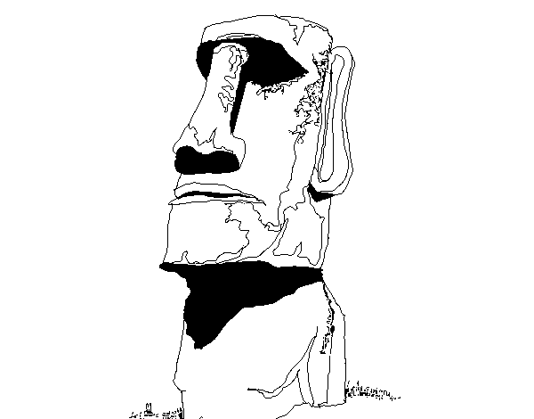 Moai drawing. From the easter island