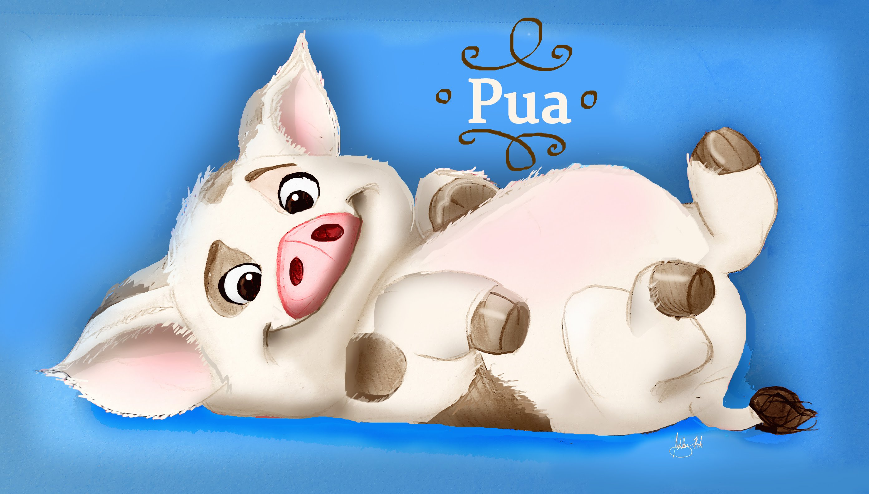 Moana clipart pua. Speed drawing from disney