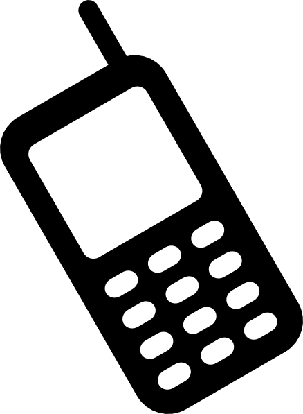Cell phone black and. Cells clipart phoneclip art banner free download