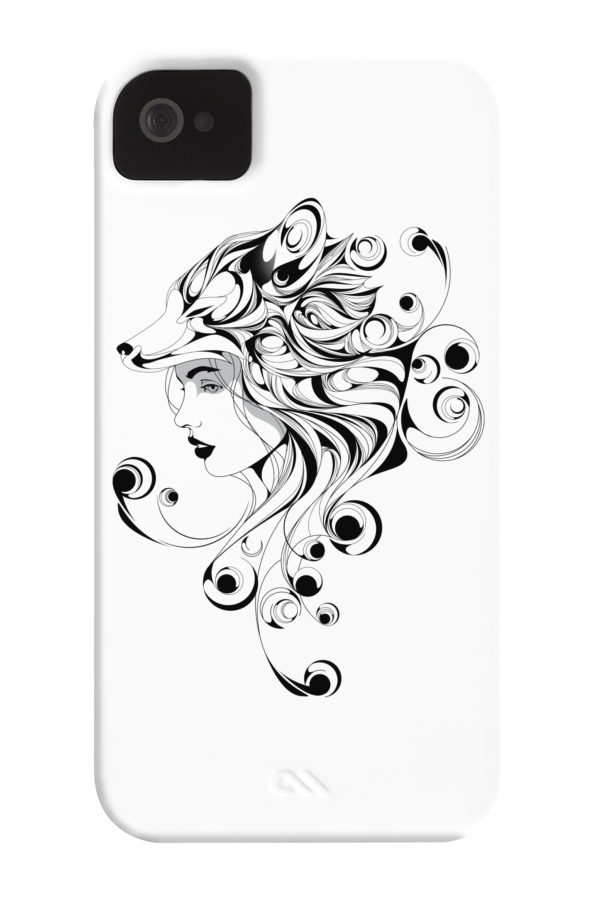 Mobile drawing iphone 5s. Fox girl phone case