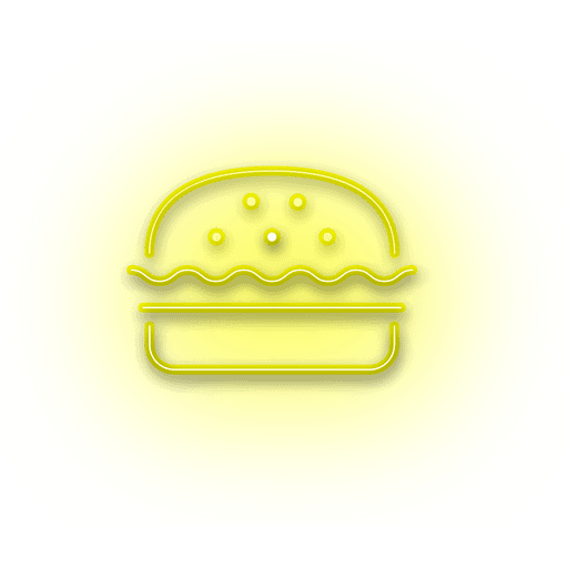 Model vector neon. Yellow burger icon transparent