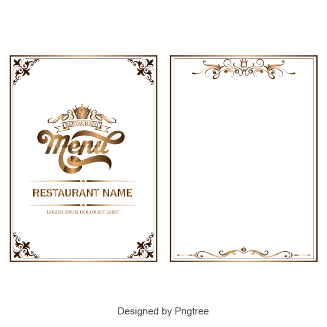 Modern vector retro. Golden tall menu border