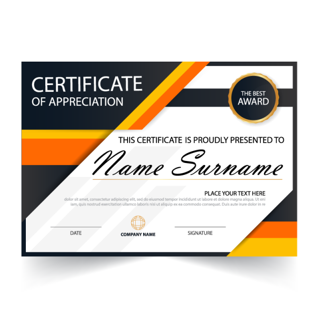 Elegance horizontal with vector. Certificate gold seal png transparent stock