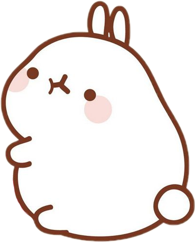 Molang transparent brown. Kawaii sticker by via