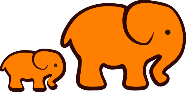 Mom and baby animals clipart png. Orange elephant clip art