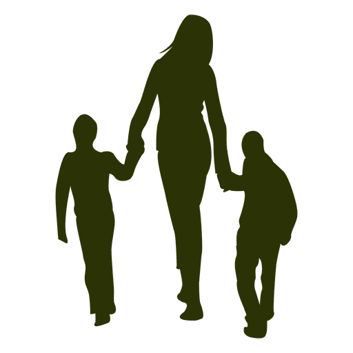 Mom and child png. With children silhouette transparent