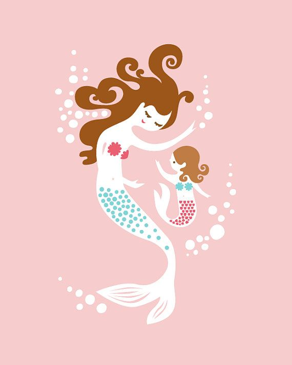 Mom clipart mermaid. Mother daughter polynesian african
