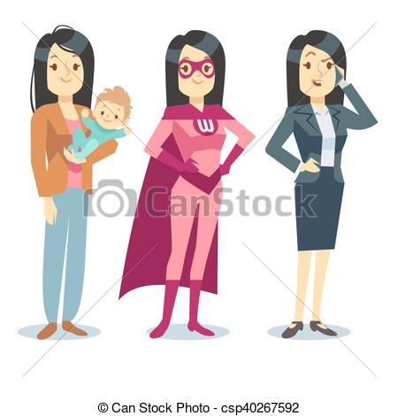 Super woman in costume. Mother clipart superhero graphic royalty free