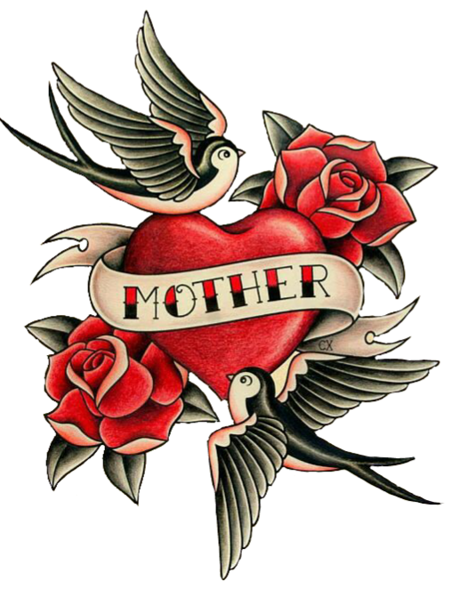 Mom heart tattoo png. Colorfultattoo love roses birds
