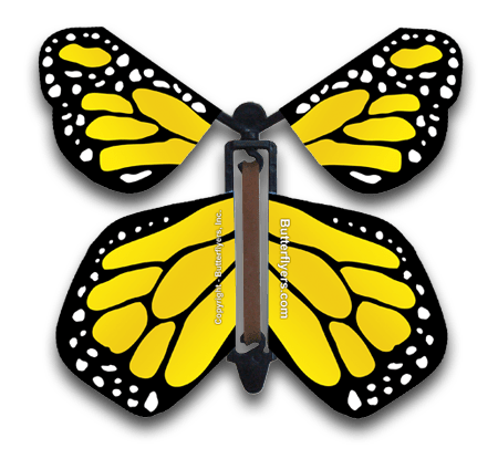 Monarch clipart flying butterfly. Yellow wind up butterflyers