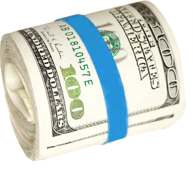 Miney clip rubber band. Money in blue psd