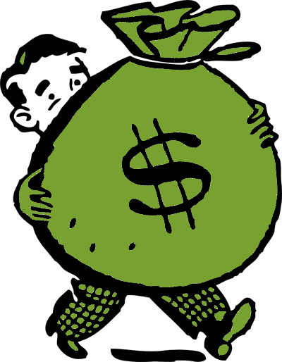Money cartoon png. Man holding bag greendark